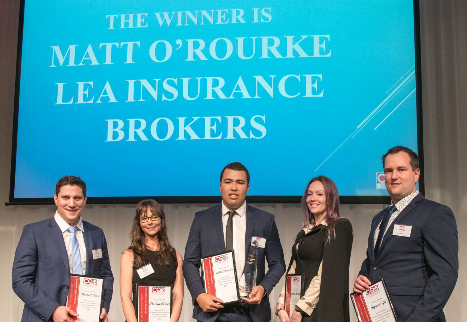 The winner is Matt O'Rourke - Peter McCarthy CQIB Young Professional of the Year Award